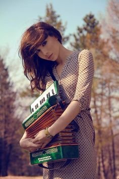 This green accordion really spices up this shot.