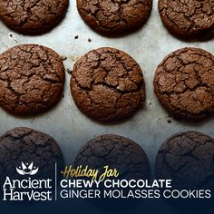 These DIY Holiday Jar Chewy Chocolate Ginger Molasses Cookies make excellent gifts. Pin for a chance to win BIG in the Ancient Harvest #QuinoaCookieSwap. Learn more on facebook.com/AncientHarvest