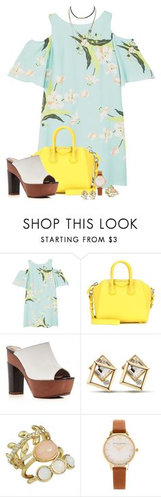 """text back later"" by fantasia-fashion ❤ liked on Polyvore featuring MANGO, Givenchy, ALEXA WAGNER, Olivia Burton, floral, watch, platform, choker and offtheshoulder"