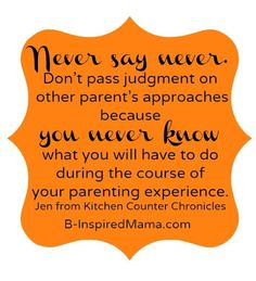 Don't judge other's parenting! (Can I say 'never' judge?)