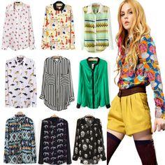 New Fashion Women Ladies Chiffon Long Sleeve Shirt Tops Blouse 20 Style  Size S~L 19941a3e21d2