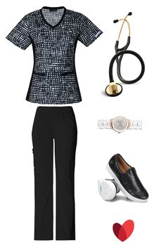 "Modern themed scrub outfit by allheart featuring: Scrub top- Flexibles by Cherokee Women's V-Neck Knit Panel Dot Print / Scrub pant (black) - Flexibles by Cherokee Women's Pro Cargo Scrub Pant / Stethoscope (black w/ brass) - 3M Littmann 27"" Master Cardiology Stethoscope / Watch- Nurse Mates Women's Silicone Link Watch / Shoe (black)- Nurse Mates Women's Adela Slip On"