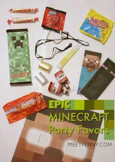 Minecraft party favors! This is the best Minecraft birthday party I have seen and all of the Minecraft party ideas are completely doable without spending a small fortune. She includes Minecraft party printables and has great ideas for Minecraft party decorations, games, and more!
