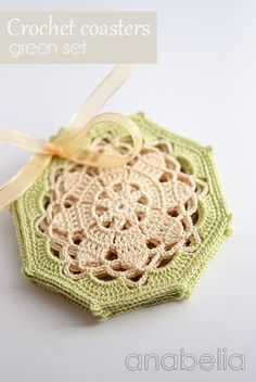 Crochet coasters green set by Anabelia: These are so pretty! Need to learn to read a chart . . .