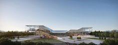 더 알아보려면 글을 방문하세요. Folding Architecture, Modern Architecture House, Concept Architecture, Ulsan, Auditorium, Concert Hall, Convention Centre, Model Homes, Scenery