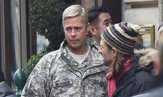 Brad Pitt luce un rubio platinado en el rodaje de su próxima película