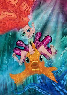 Lil' Endless Delirium Rides a Fishy. Digital mixed media by Damian K. Sheiles.