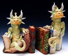 Clay Landacre (Dragon Spirit Studio)  |  sculptural Dragon bookends (custom order only).
