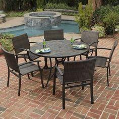 Home Styles Stone Harbor 7-Piece Slate Stone Patio Dining Set 5601-368