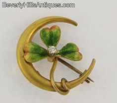 Antique Art Nouveau 14k Gold Diamond Enamel Clover Watch Holder Pin