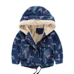59.56$  Buy here - http://aioi3.worlditems.win/all/product.php?id=32704149651 - 2017 baby girl clothes girl winter coat hooded fleece thicken cherry printed winter girls jacket denim fashion kids outwear 2-7T