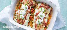 Enchilada's van courgette Low Calorie Recipes, Healthy Recipes, Healthy Diners, Good Food, Yummy Food, Enchiladas, Mindful Eating, Couscous, Easy Cooking