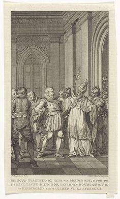 Reinier Vinkeles | Reinoud II van Brederode, wordt door de bisschop van Utrecht de ridderorde van het Gulden Vlies afgerukt, 1470, Reinier Vinkeles, 1787 | Reinoud II van Brederode, wordt door de bisschop van Utrecht David van Bourgondië de ridderorde van het Gulden Vlies afgerukt, wegens de (valse) beschuldiging dat hij een aanslag op het leven van Karel de Stoute beraamd zou hebben, 1470.