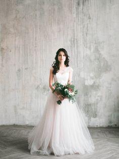Angara  keyhole back short sleeve wedding dress tulle
