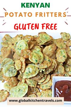 Kenyan Potato Bhajia - Gluten Free Potato Fritters make a delicious party appetizer for game day or any celebration of friends and family. More heavily spiced than the Indian version, this is an irresistible snack for any time! #glutenfreerecipes #glutenfreeappetizers #gamedayfoods #africanrecipes #vegetarianrecipes #worldrecipes #worldcuisine