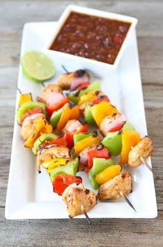 Grilled Chicken Fajita Kabobs from www.twopeasandtheirpod.com #recipe