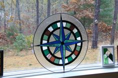Stained Glass Compass Rose by tobiaswoodandglass on Etsy