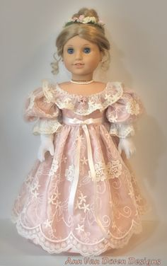 Cotton tulle lace over silk shantung American Girl Doll Costumes, American Girl Doll Room, American Girl Dress, American Girl Crafts, American Doll Clothes, Baby Doll Clothes, American Girls, Barbie Clothes, Knitted Doll Patterns