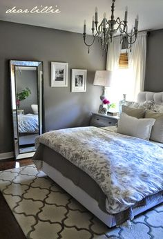 Our Home by Dear Lillie---Master Bedroom: Wall Color - Graystone by BM in Matte Finish Trim Color - Simply White by BM in Semi-Gloss Door Color - Mopboard Black by BM in Semi-Gloss