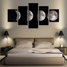 5 Piece(No Frame)Moon Modern Home Wall Decor Canvas Picture Art HD Print Painting On Canvas for Living Room Living Room Canvas, Living Room Paint, Living Room Interior, Living Room Decor, Bedroom Decor, Bedroom Wall, Bedroom Ideas, Elegant Home Decor, Home Wall Decor