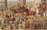 Constantin XI en train d'essayer de repousser les Ottomans par Theophilos Hadjimichail —