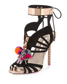 This is one badddd shoe... Yasmina+Pompom+Suede+100mm+Sandal,+Black+by+Sophia+Webster+at+Neiman+Marcus.