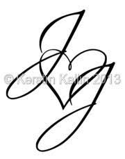 Image result for letter j made into the shape of a heart