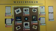 """This is an interactive bulletin board I created to look like an Instagram page.  It has laminated sentence strips for users to change the number of likes and/or add comments.  Posted on the board is student work as well as pictures of the students.  (The name of my school is Mastery Charter, hence """"Masterygram"""".)  There's a mirror in the center to mimic a camera lens."""