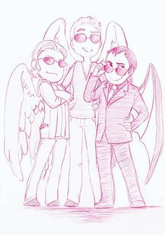 Gabriel, Balthazar, and Crowley. My top three favourites in one picture. Balthazar Supernatural, Supernatural Angels, Supernatural Tv Show, Crowley, Really Cool Stuff, Awesome Things, Awesome Art, Amazing, Destiel