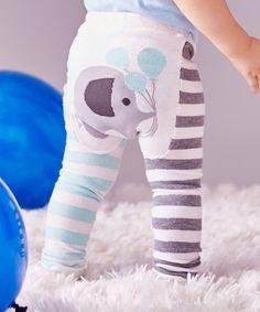 Blue Stripe Elephant Leggings - Infant #zulily #zulilyfinds