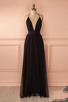 Charming Prom Dress,Sexy Prom Dress,Long Prom Dresses,Black V