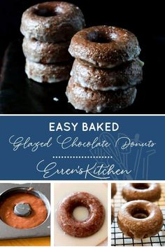 Don't compromise on taste with this delicious baked version of a classic donut. #easybakedglazedchocolatedonuts #errenskitchen