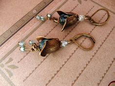 Aqua flower brass glass dangle earrings No E36 by VerdegrisGifts, $17.00