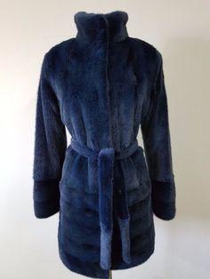 REAL NEW MINK FUR COAT JACKET  BLUE BLACK SKINS SAGA MEXA PELZMANTEL SABLE FOX #Handmade #BasicJacket