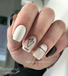 Neutral nails with black and white geometric graphics. ― re-pinned by Breanna L.