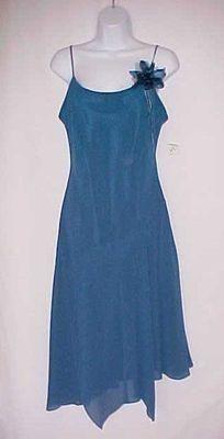 Sz 8 EVAN PICONE Evening Dress Teal Blue Sexy Spaghetti Straps Fabric Flower NEW