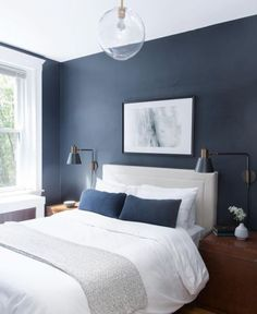 This Old House, Pastel Decor, Blue Master Bedroom, Bedroom Small, Small Rooms, Blue Accent Walls, Accent Colors, Wall Colors, Asian Decor