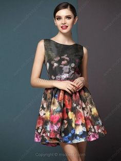 fa9d7b49840 Multicolor Round Neck Sleeveless Zipper Floral Dress for HPL - 48.29 Beautiful  Dresses