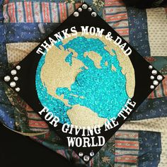 World Travels Grad Cap by GradCapsByKatie on Etsy