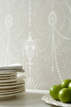 This classical grey wallpaper features a large scale pattern of botanical details with dramatic draping jewels in white. Browse our period wallpapers online. Grey Pattern Wallpaper, Grey Wallpaper, Chalk Paint Colors, White Chalk Paint, Little Greene, Chalk Paint Furniture, Furniture Design, Paris Grey, Piece A Vivre