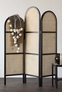 Raumteiler Sungkai Woven Cane Wooden Room Divider / Screen - Black by Rockett St George Roc . Freestanding Room Divider, Mirror Room Divider, Diy Room Divider, Room Divider Screen, Room Screen, Partition Screen, Divider Ideas, Wooden Wardrobe, Bedroom Wardrobe