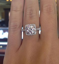 Square halo with simple, thin diamond band (Verragio ENG-0433CU-2T 0.50ctw Diamond Engagement Ring Mounting