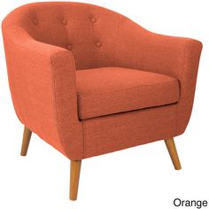 LumiSource Rockwell Accent Chair ($300) ❤ liked on Polyvore featuring home, furniture, chairs, accent chairs, orange, orange armchair, padded chairs, angelo home chair, orange furniture and colored furniture