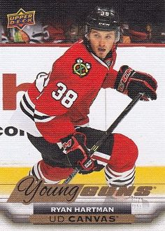Canadian Hockey Cards: Rookies, Upper Deck and Young Guns for sale. Finish your collection here. Blackhawks Hockey, Chicago Blackhawks, Ryan Hartman, Hockey Cards, Baseball Cards, Young Guns, Upper Deck, Trading Cards, Nhl