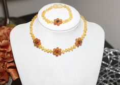 SET Raw Amber Flower Genuine Baltic Amber by SERENITYAMBER on Etsy, $25.95