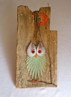 Vintage Owl String Art Wall Hanging Pinned by www.myowlbarn.com