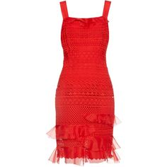 Oscar De La Renta Guipure-lace sleeveless dress ($2,990) ❤ liked on Polyvore featuring dresses, red, night out dresses, lace dress, party dresses, sleeveless cocktail dress and red lace dress