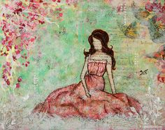 A Still Morning Folk Art Mixed Media Painting Janelle Nichol