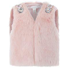 Monsoon Faux Fur Gilet (125 PEN) ❤ liked on Polyvore featuring outerwear, vests, fake fur vest, faux fur gilet, gilet vest, pink faux fur vest and faux fur vest