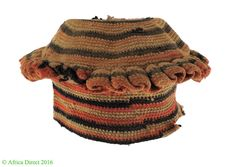 """Title Bamileke Hat Pink and Black Cameroon Old African Art. People Bamileke. Each village is led by a primary chief, or """"Fon."""". Each Fon is selected by his predecessor, based on the dominant lineage within that community. 